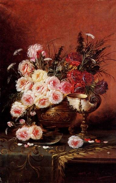 Carlier Max Still Life Of Roses And A Nautilus Cup On A Draped Table
